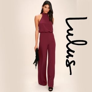 Lulus Moment for Life Wine Red Halter Jumpsuit